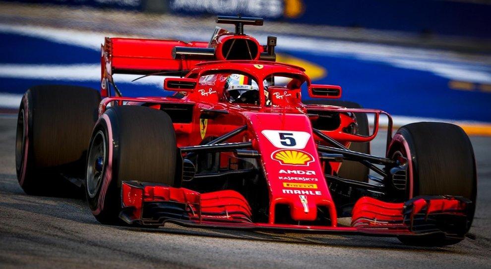 La Ferrari di Sebastian Vettel a Singapore