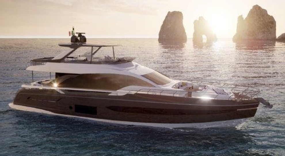 Il rendering dell'Azimut 76 Fly